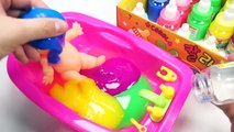 Numbers Counting Baby Doll Colors Slime Bath Time Learn Colors Clay Slime Surprise Toys