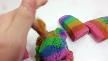Learn Colors Kinetic Sand Cake Slime Toilet Poop Real Syringe Play DIY