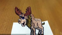 3D drawing on paper Step by Step -How to Draw 3d Moose on paper