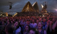 Crowded House audience joins in at Sydney Opera House reunion concert – video