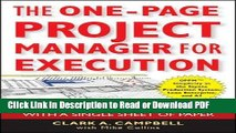 PDF The One-Page Project Manager for Execution: Drive Strategy and Solve Problems with a Single