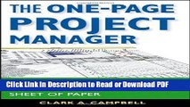 PDF The One-Page Project Manager: Communicate and Manage Any Project With a Single Sheet of Paper