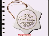 3dRose orn_154460_1 18th Anniversary Gift Gold Text for Celebrating Wedding Anniversaries Snowflake
