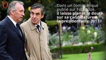 Présidentielle 2017 : François Bayrou laisse planer le doute