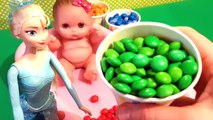 Bad Baby Doll & Frozen Elsa Learn Colors Bath Time with M&Ms & Skittles - Learning Colors for Kids