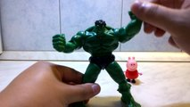 Peppa Pig meet The Incredible Hulk. Peppa Pig play with The Incredible Hulk.