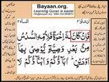 Quran in urdu Surah 004 AL Nissa Ayat 011C Learn Quran translation in Urdu Easy Quran Learning