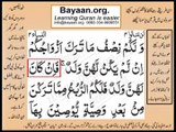 Quran in urdu Surah 004 AL Nissa Ayat 012A Learn Quran translation in Urdu Easy Quran Learning