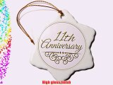 3dRose orn_154453_1 11Th Anniversary Gift Gold Text Celebrating Wedding Anniversaries Eleven