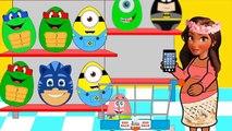 Kids Surprise Eggs 2016 Mohana Shopping Market PJ Masks Lightning McQueen Batman Funny Best Video