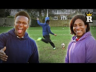 KSI coaches Maggie?! Rugby Kicking Challenge! | Rule'm Sports