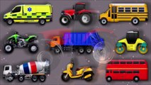 Street Vehicles for Kids. Cars and Trucks. Ambulance Double deker School bus Tractor Garbage truck