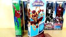 Titan hero series collection | Agent venom vs armored Spider man, iron spider, War machine, Sandman