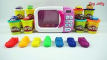 Play Doh Cooking Microwave Oven Playset Learn Colors with Disney Cars Modeling Clay and Takara cars!
