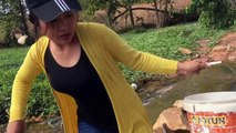 Amazing Cute Girl Fishing - How to Catch Fish By Hand In The Pool Water - Family Catch A Lot Of Fish