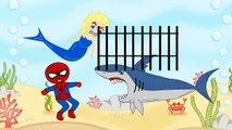 Frozen Elsa mermaid saves Spiderman from shark PJ masks Catboy Owlette Masha