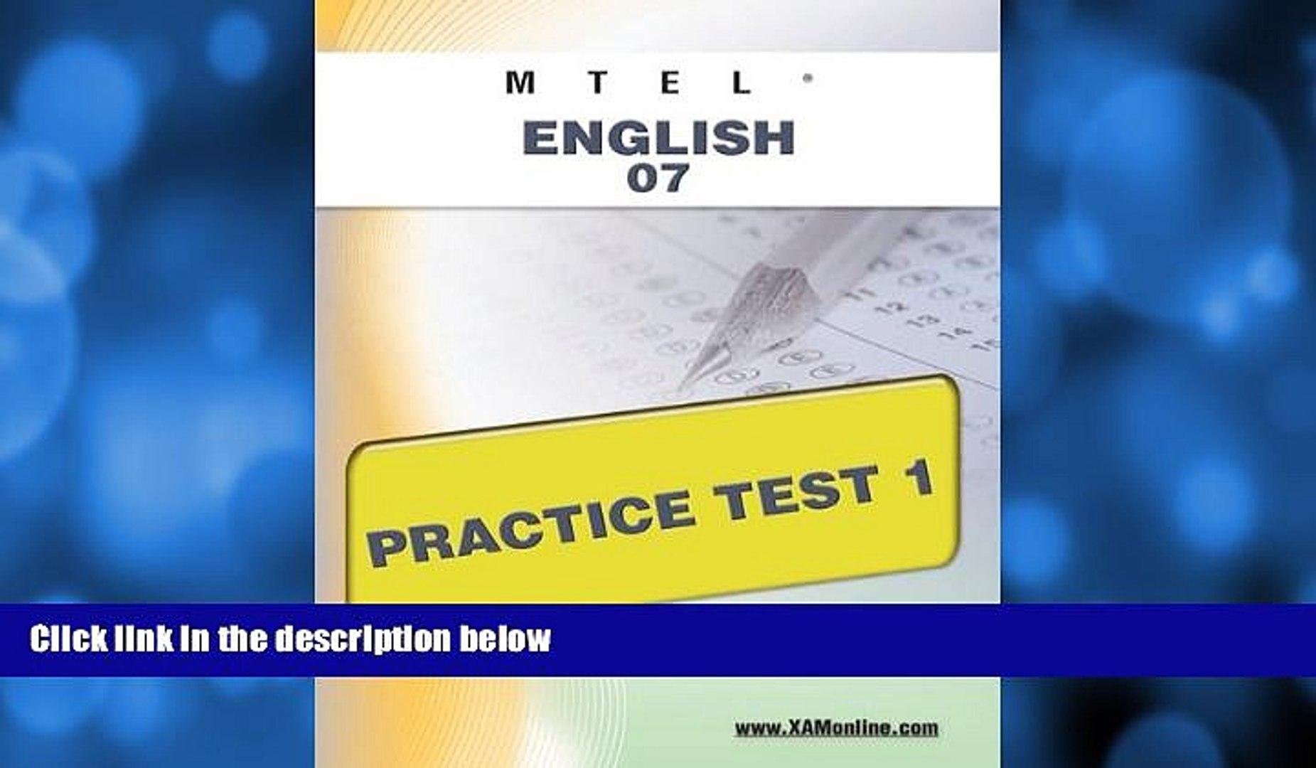 Pre Order MTEL English 07 Practice Test 1 Sharon Wynne On CD