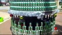 Il construit un sapin de Noël géant avec des canettes de bière