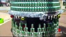 Sapin de Noël géant version alcoolo avec des canettes de bière