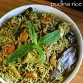pudina rice recipe _ mint rice recipe _ mint pulao recipe _ pudina pulao recipe