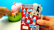 SMURFS Surprise Eggs Unboxing with Peppa Pig | SweetsAndCandy