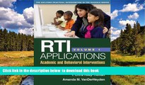 Buy NOW Matthew K. Burns RTI Applications, Volume 1: Academic and Behavioral Interventions