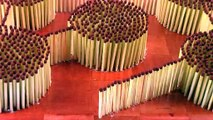 He Sets Up Matches In A Design. Now Watch What Happens When He Lights It… It's ODDLY Satisfying