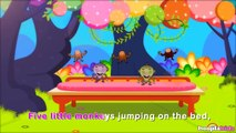 Five Little Monkeys Jumping On The Bed | Nursery Rhymes With Lyrics by HooplaKidz Sing-A-Long