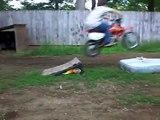 funny fat kid crashes a dirt bike and falls