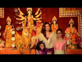 Sushmita Sen With Daughters VISITS Durga Puja  At Bandra
