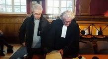 Arrivée de Luc Fournié et de son avocat Georges Catala, lors de son procès aux assises de Toulouse