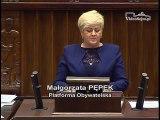 Poseł Małgorzata Pępek - Wystąpienie z dnia 29 listopada 2016 roku.
