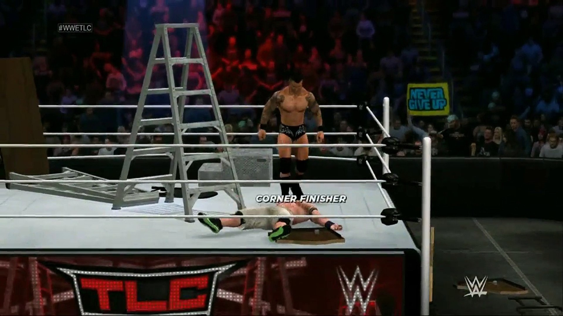 WWE 2K17: Randy Orton vs John Cena - TLC Highlights, Extreme Moments & Glitches.