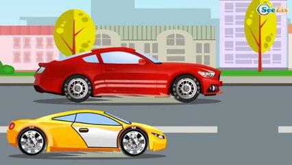 Camión de bomberos - Caricaturas de carros - Dibujos animados - Carritos para niños