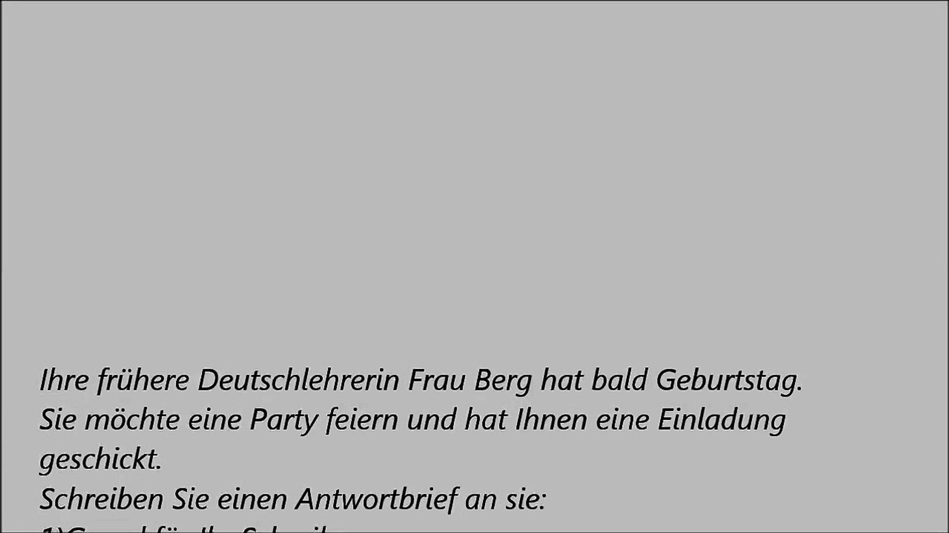 Deutsche Brief A1 A2 B1 Prufung 31 Einladungsbrief Dailymotion Video