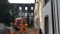Incendie dans un bâtiment d'Hellfest production