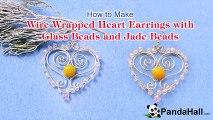 Vidéo 77(P) Comment faire boucles d'oreilles coeur avec perles en verre et perles jade