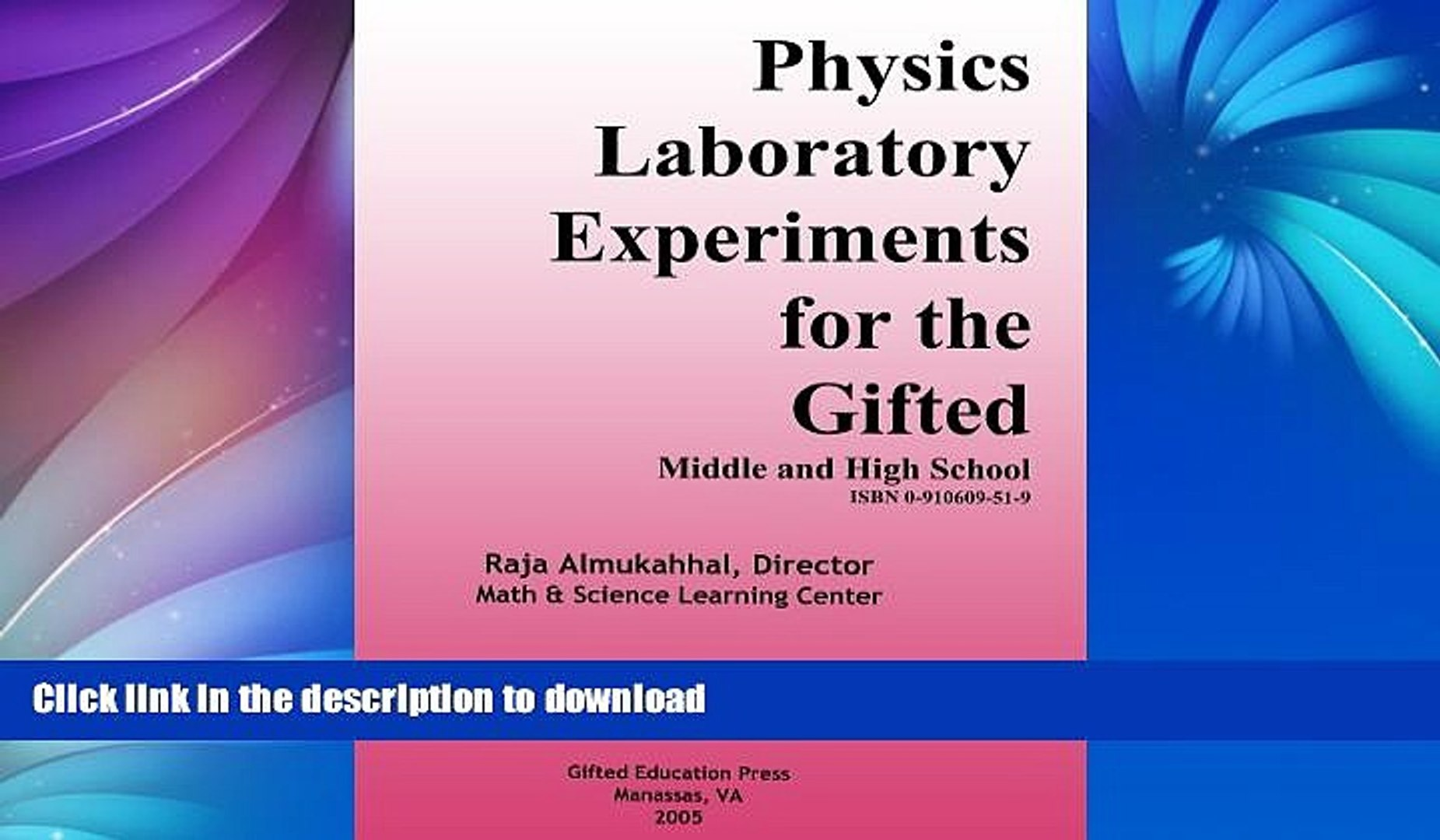 Hardcover Physics Laboratory Experiments for the Gifted: Middle and High  School