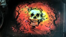 Spray paint art tutorial - How to do a halloween painting skull trees