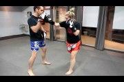 Tiger shadow muay thai boxe kickboxing laurentides pad work