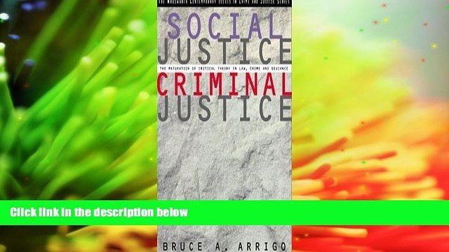 BEST PDF  Social Justice/Criminal Justice: The Maturation of Critical Theory in Law, Crime, and