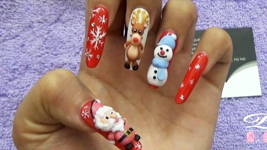 Mẫu nail Noel đẹp, trang trí mẫu móng đẹp cho giáng sinh, đắp bột ông già noel lên móng tay