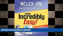 Hardcover NCLEX-RN Questions and Answers Made Incredibly Easy (Nclexrn Questions   Answers Made
