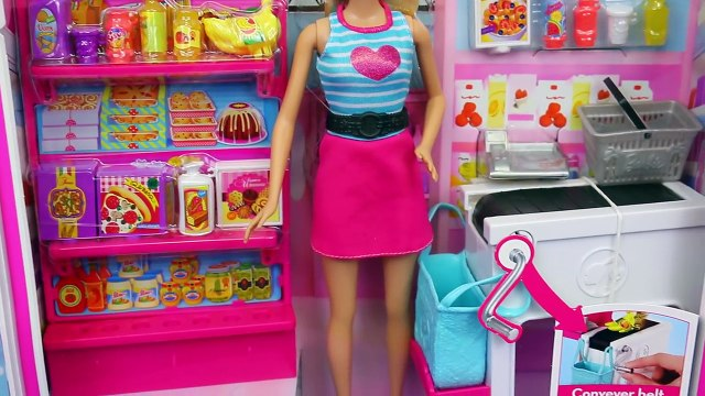 NEW Barbie Grocery Store Market Toy Review with Doll Accessories Shopping by DisneyCarToys