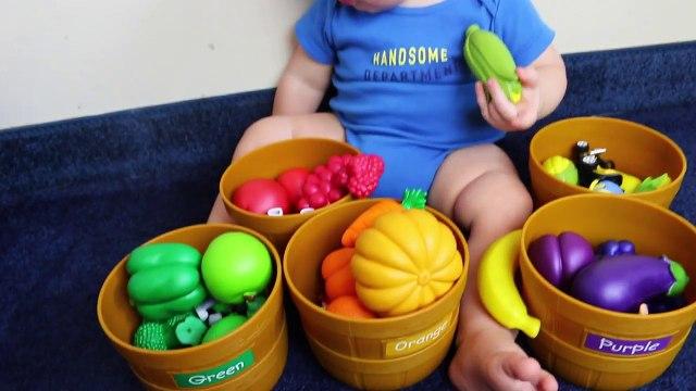 CUTE BABY Eli Best Learning Colors Fruit & Veggies Color Sort TONS of SURPRISES Toys for Babies Kids