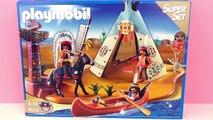 Camp indien Playmobil avec un feu de camp dans le Tipi, un canoë et un cheval multicolore | Démo