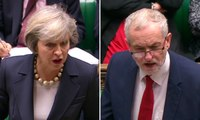 Theresa May and Jeremy Corbyn clash over social care at PMQs – video