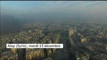 Syrie : un drone survole la ville d'Alep, dévastée par les bombardements