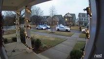 Arrestation musclée d'une voiture dans un quartier résidentiel