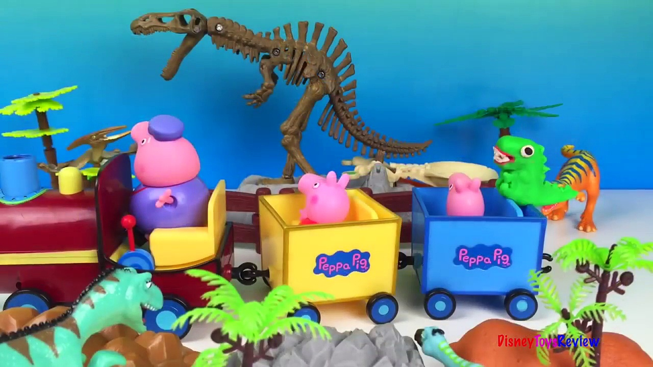 Peppa Pig Grandpa Pigs Train Trip to Dinosaur Park playdoh George Pig Jim Hensen dinosaur train
